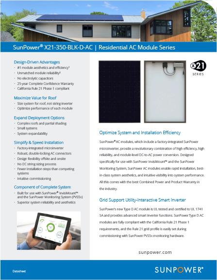 screenshot of SunPower document about Residential AC Module Series