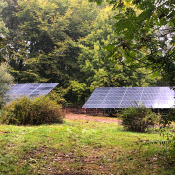 two rows of solar panels in a yard