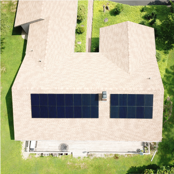overhead picture of roof containing solar panels